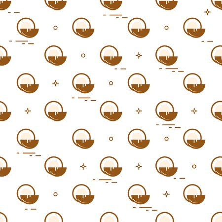 Seamless pattern with coconut, coconut milk for cosmetics and care products. Glamour fashion vogue style. Stock Illustratie