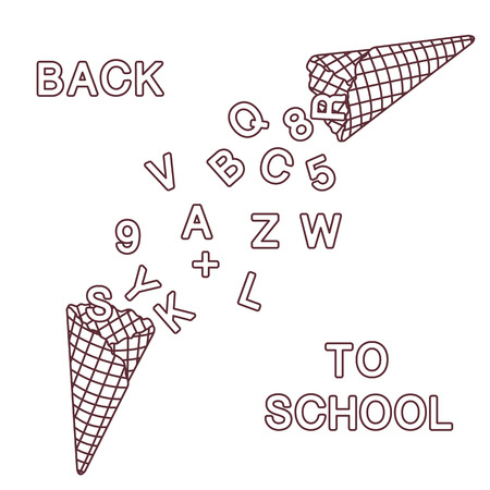 Back to school. Vector illustration with ice cream cones, letters, numbers. Imagens - 111668170