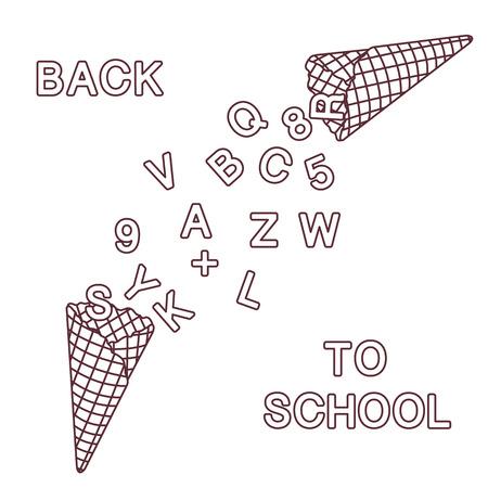 Di nuovo a scuola. Illustrazione vettoriale con coni gelato, lettere, numeri.