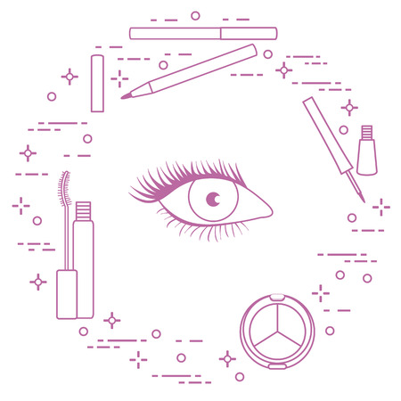 Eye makeup. Decorative cosmetics. Glamour fashion vogue style. Illustration