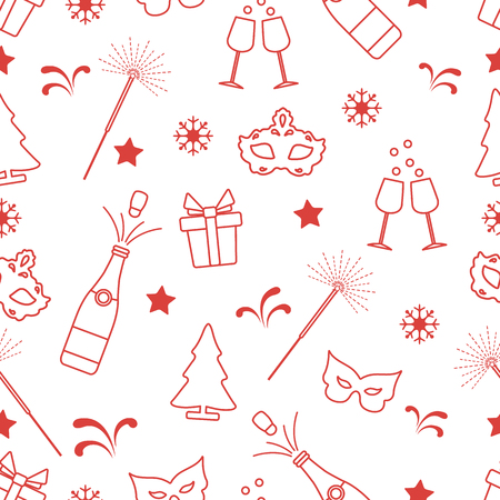Seamless pattern with new year symbols. Gifts, fireworks, bottle and glasses with champagne, christmas tree, mask, stars, snowflakes. Vektorové ilustrace