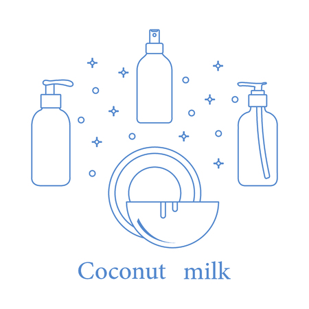 Coconut milk for cosmetics and care products. Ilustração