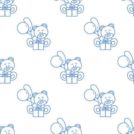 Seamless pattern with children's toys. Bear, gift, balloons. Vettoriali