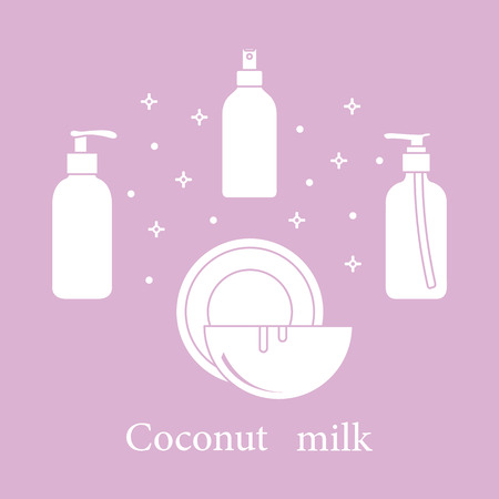 Coconut milk for cosmetics and care products. Glamour fashion vogue style. Banco de Imagens - 107691967