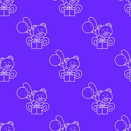 Seamless pattern with children's toys. Bear, gift, balloons.