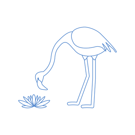 Vector illustration with flamingo bird and water lilies flowers. Design for poster or print. Ilustrace