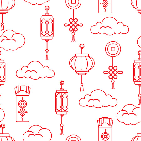 Chinese lanterns, chinese money envelopes , coin for good luck, clouds. Festive traditions of different countries.