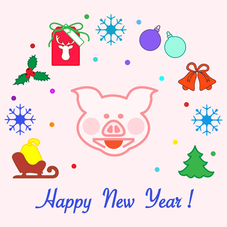Happy New Year 2019 card. Christmas tree, pig, sled, bag, mistletoe, gift tag, balls, bells, snowflakes. Pig is a symbol of the 2019 Chinese New Year.