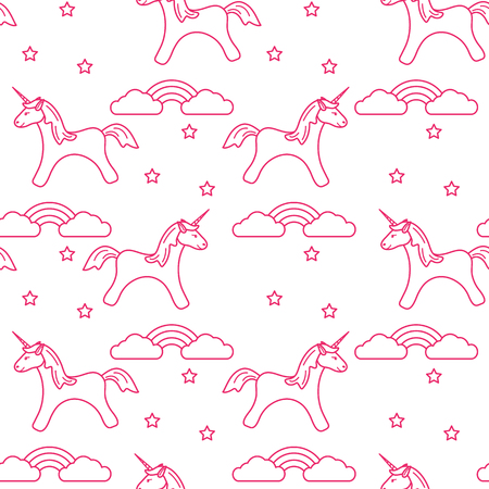 Seamless pattern with magic unicorn and stars, clouds, rainbow. Design for children graphic, t-shirt, cover, gift card.