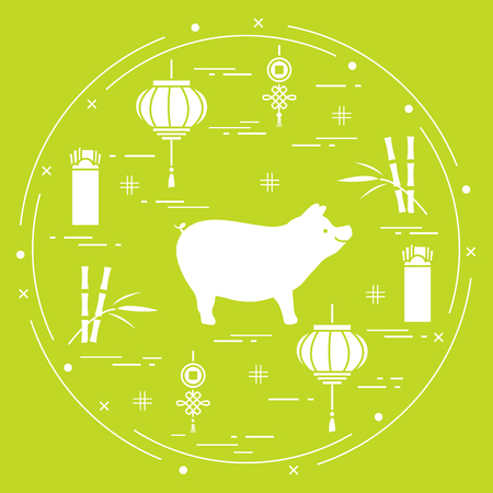 Happy New Year 2019 card. Chinese New Year symbols. Pig, lantern, chinese red envelopes of money, bamboo, coin for luck. Festive traditions of different countries.