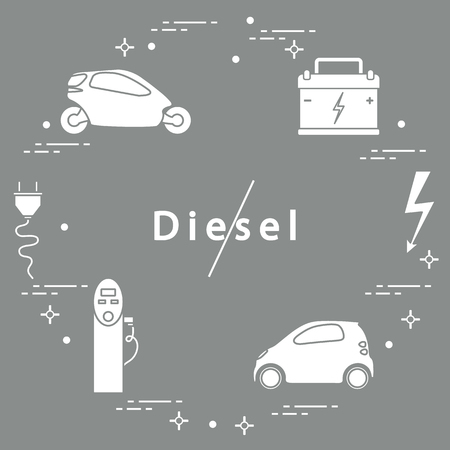 Ban on diesel engines. Transport is environmentally friendly. Electric cars, battery, charging station, electrical safety sign, cable, electrical plug. Transport eco technologies. Иллюстрация