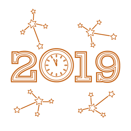 Christmas and New Year 2019 card. Vector new year background with clock and stars. Design for postcard, banner, print.