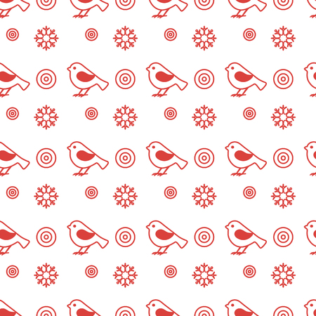 Vector seamless pattern with snowflakes and birds. Christmas and New Year 2019 background. Design for wrapping, fabric, print. Illustration
