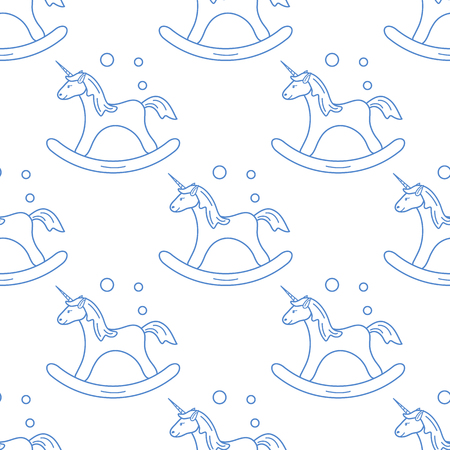 Pattern with rocking magic unicorn and bubbles. Design for children graphic, t-shirt, cover, gift card. Illustration