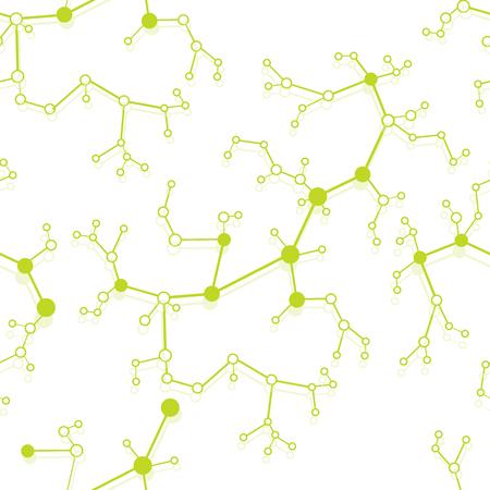 Modèle sans couture avec des structures de molécules et de communication. Concept scientifique. Médecine, chimie, formation scientifique. Vecteurs