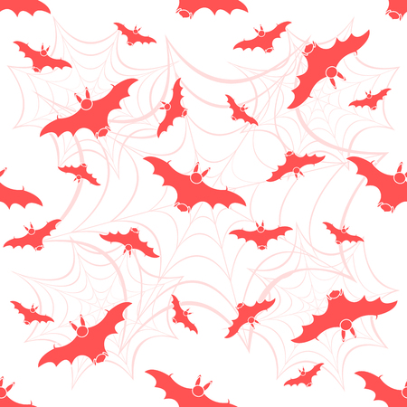 Halloween 2019 vector seamless pattern with web and bat. Design for party card, wrapping, fabric, print.
