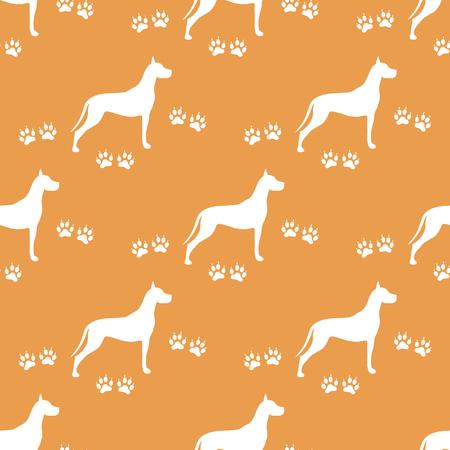 Seamless pattern with dog and dog tracks. Animal pattern. Illustration