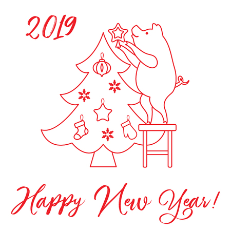 Piglet decorates the Christmas tree. New Year symbols. Design for postcard, banner, poster or print. Illustration