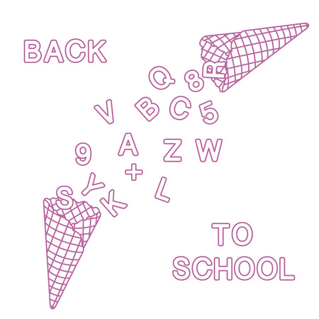 Back to school. Vector illustration with ice cream cones, letters, numbers. Imagens - 109924090