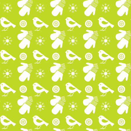 Vector winter seamless pattern with snowflakes, birds, mittens. Christmas and New Year 2019 background. Design for wrapping, fabric, print.