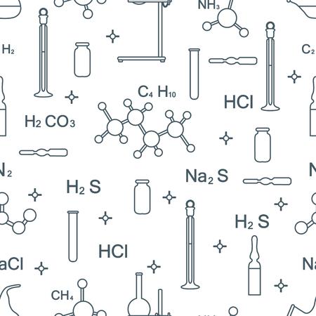 Modèle sans couture de vecteur scientifique avec flacons, tubes à essai, béchers, outils et formules. Éléments éducatifs. Chimie, biologie, médecine.