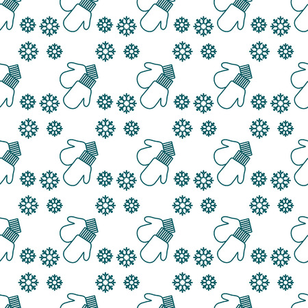 Vector winter seamless pattern with snowflakes, mittens. Christmas and New Year 2019 background. Design for wrapping, fabric, print.