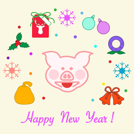 Happy New Year 2019 card. Christmas wreath, pig, gift tag, mistletoe, gift bag, balls, bells, snowflakes. Pig is a symbol of the 2019 Chinese New Year.