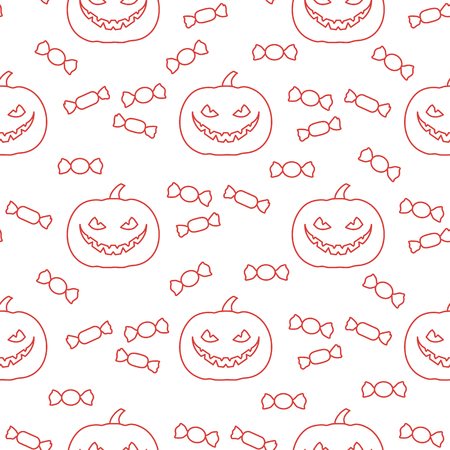 Halloween 2019 vector seamless pattern with pumpkin and candy. Design for party card, wrapping, fabric, print. Illustration