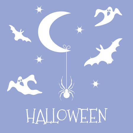 Halloween 2019 vector illustration with month, stars, spider, bats, ghosts. Design for party card, wrapping, fabric, print.