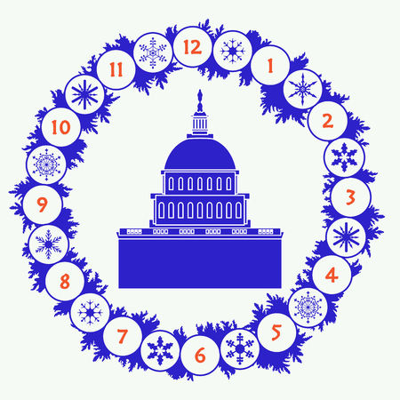 Christmas wreath with fir branches, snowflakes and famous building in the USA. Happy New Year 2019, Christmas card.