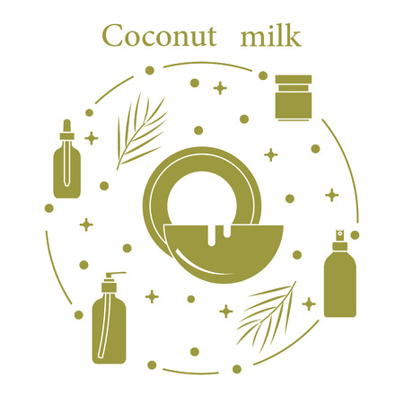 Coconut milk for cosmetics and care products. Glamour fashion vogue style. Banco de Imagens - 108839762