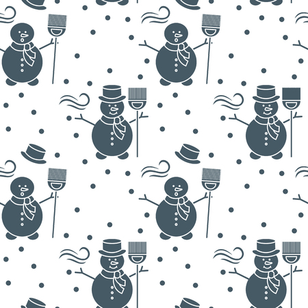 Seamless pattern with snowman, broom, hat, wind, snow. Funny pattern on a winter theme.