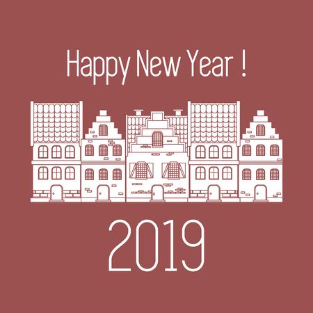 Happy New Year 2019 card. Vector illustration houses. Design for postcard, banner, print. Illustration
