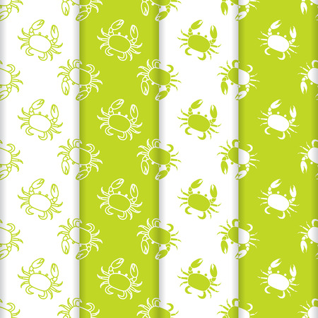 Set of 4 vector seamless pattern with crabs. Sea inhabitants. Animals under water. Seafood. Design for packaging paper, fabric and other print.