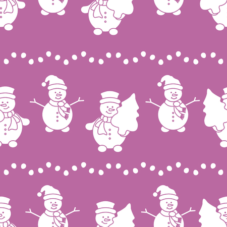 Happy New Year 2019 and Christmas seamless pattern. Vector illustration with snowman and Christmas tree. Design for wrapping, fabric, print. Illustration