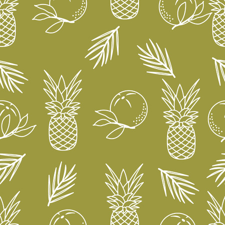 Seamless pattern with pineapples, orange, leaves. Tropical fruit. Summer background.