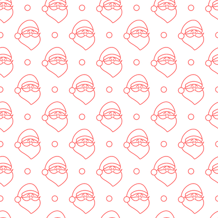 Happy New Year 2019 and Christmas seamless pattern. Vector illustration with Santa Claus, snow. Design for wrapping, fabric, print. Illustration
