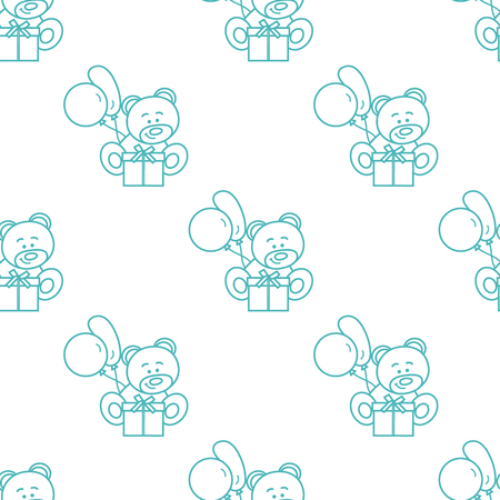 Seamless pattern with childrens toys. Bear, gift, balloons.