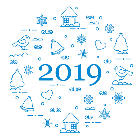 Happy New Year 2019 card. Christmas trees, birds, houses, gingerbread, bells, stars, hearts, snowflakes.