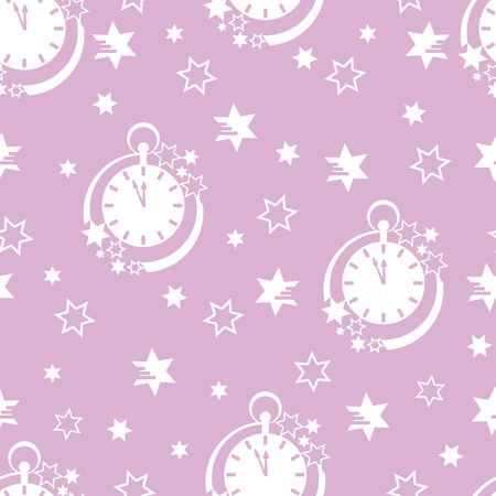 Seamless pattern with clock and stars. Christmas and New Year 2019 background. Design for packaging paper, fabric and other print.
