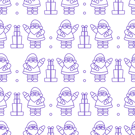 Happy New Year 2019 and Christmas seamless pattern. Vector illustration with Santa Claus, gifts. Design for wrapping, fabric, print. Illustration