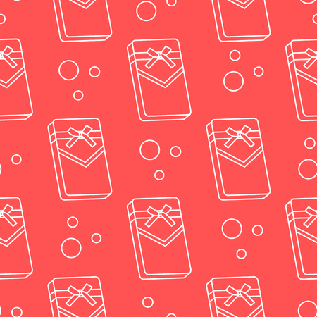 Seamless pattern with gifts boxes, bandaged with ribbons and bow.