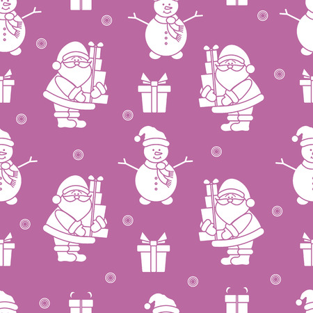 Happy New Year 2019 and Christmas seamless pattern. Vector illustration with Santa Claus, snowman, gifts. Design for wrapping, fabric, print.