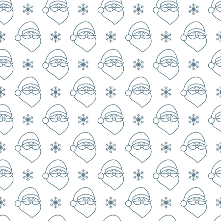 Happy New Year 2019 and Christmas seamless pattern. Vector illustration with Santa Claus, snowflakes. Design for wrapping, fabric, print. Illustration