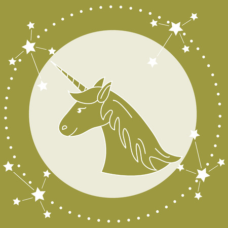 Magic unicorn and constellations. Design for children graphic, t-shirt, cover, gift card, poster.