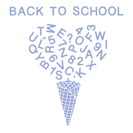 Back to school. Vector illustration with ice cream cone, letters, numbers. Imagens - 108837433