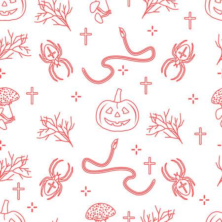 Halloween 2019 vector seamless pattern with pumpkins, branches, spiders, snakes, crosses. Design for decoration, wrapping, greeting cards, web page background, fabric, print.