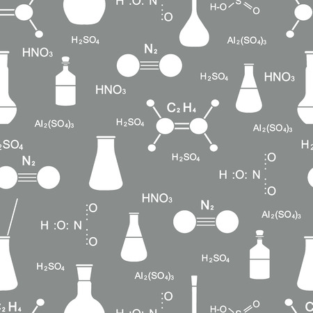 Scientific vector seamless pattern with flasks, beakers, molecule structure and formulas. Education elements. Chemistry, biology, medicine.