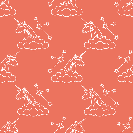 Seamless pattern with magic unicorn and constellations, clouds. Design for children graphic, t-shirt, cover, gift card.