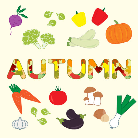 Vector illustration with carrot, zucchini, pepper, pumpkin, onion, garlic, tomato, beetroot, brussels sprouts, cauliflower, mushrooms, eggplant, nuts and autumn inscription. Harvest festival. Thanksgiving Day.